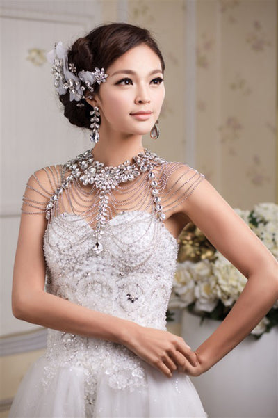 Shine Wedding Crystal Shoulder Bridal Rhinestones Shoulder Shoulder Necklaces Wedding Jewelry Bridal Accessories rhinestone bolero necklace