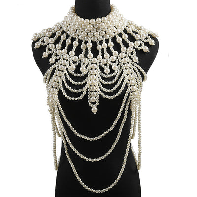 Luxury pearl bridal shoulder necklace, Victorian Wedding shoulder chain, Fancy bridal jewelry, Pearl body chain, Bridal body chain cape