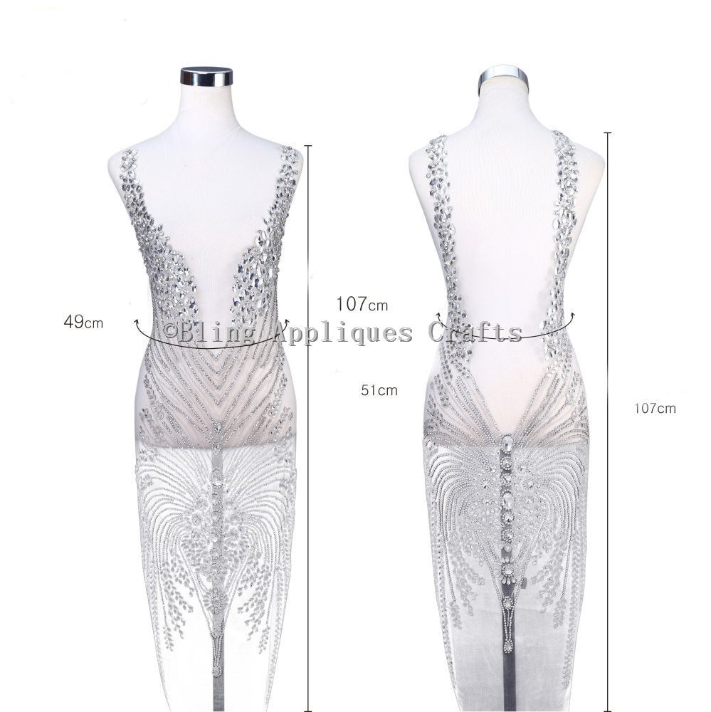 One Set(front+back) Swarovski Shine Rhinestone Applique Dress Size Design Full Length Body Hand-made Rhinestone Applique Bodice Patches for prom nude gowns