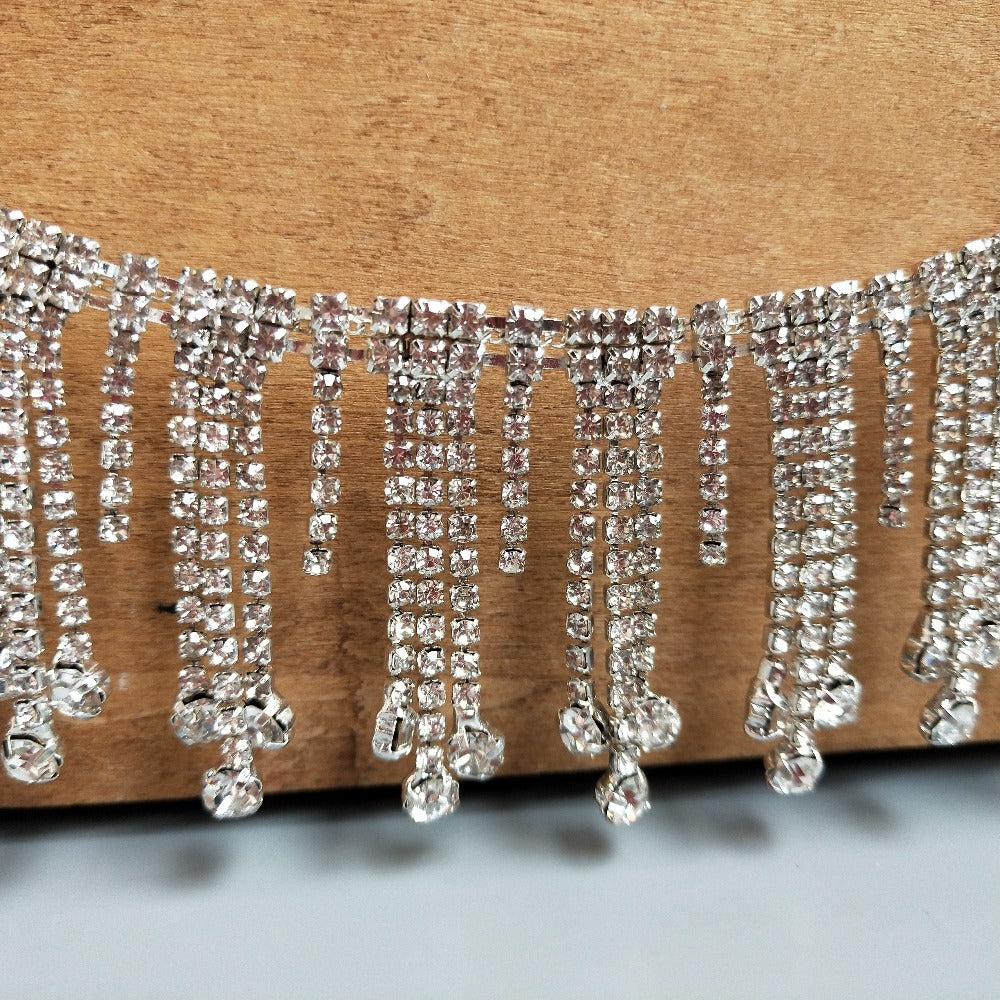 Swarovski shine Tassels Silver Rhinestone Trim Clear Crystal Chain Wedding Rhinestone Fringe Cup Chain Festival Jewelry for Jeans coat bar