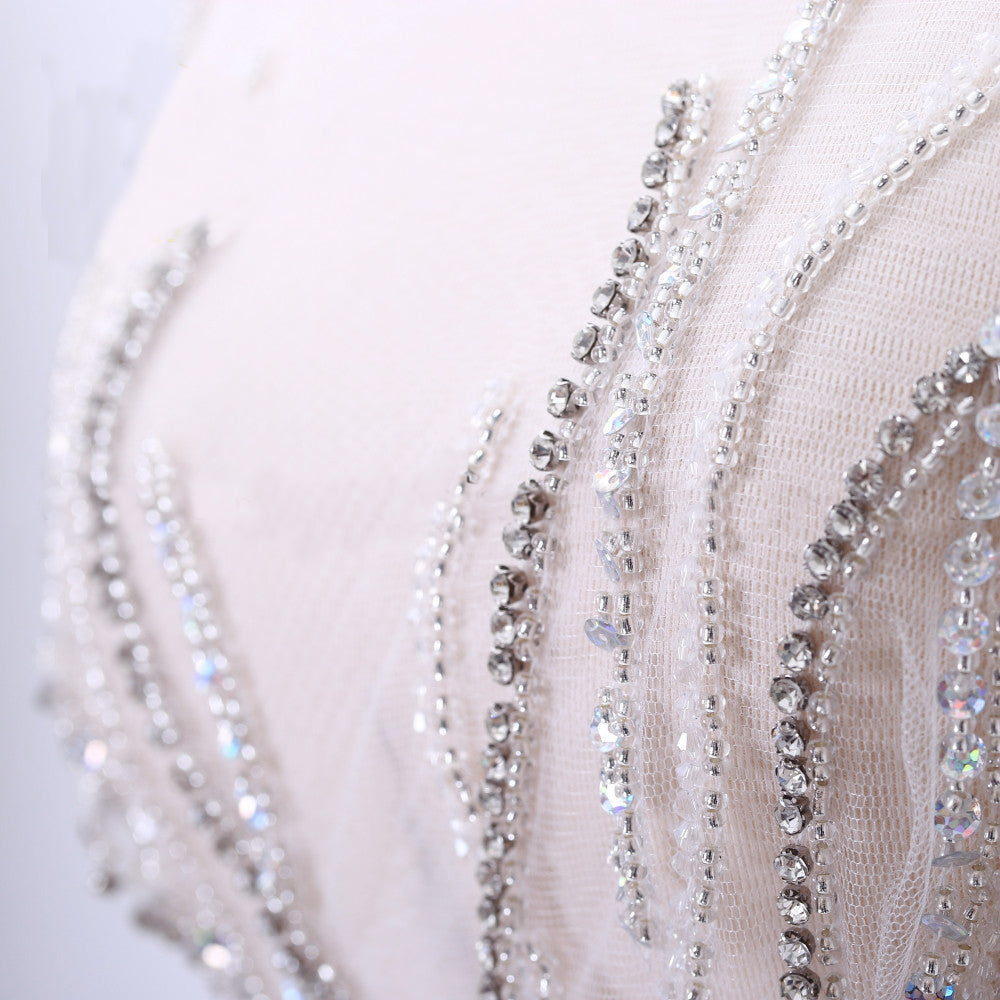 Luxurious Bridal Unique Design full body rhinestone applique Bodice Tulle,Fabric, Evening,Wedding Dress,Prom,Engagement long bodice applique