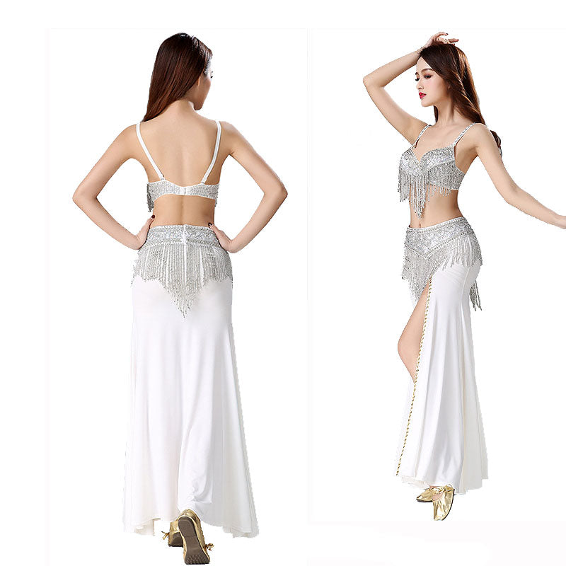 One Set= 3pcs Sex Women Belly Dance Clothes Eastern Style Beaded Top And Belt Adjustable Costumes For Belly Dance Bra Costume With Necklace
