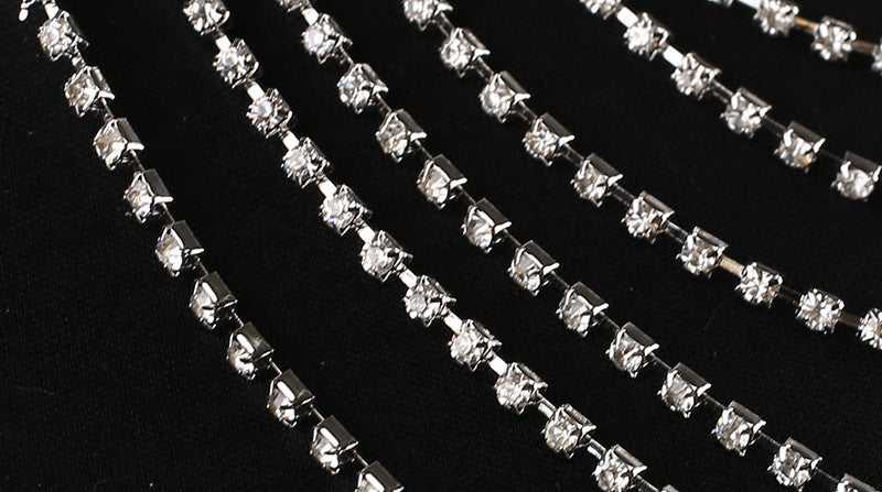 Bridal Sparkly Crystal body Shoulder Jewelry Cover up Chain top Bride Large Choker Necklace Jewelry Set Silver Evening event Wedding Gift