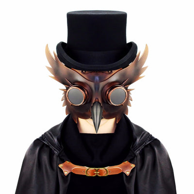 Gear Duke Retro Gold&Black PU Leather Steampunk Retro Accessories props Mask audlt Punk Wings Rivets Halloween Cosplay Gothic Mask Props