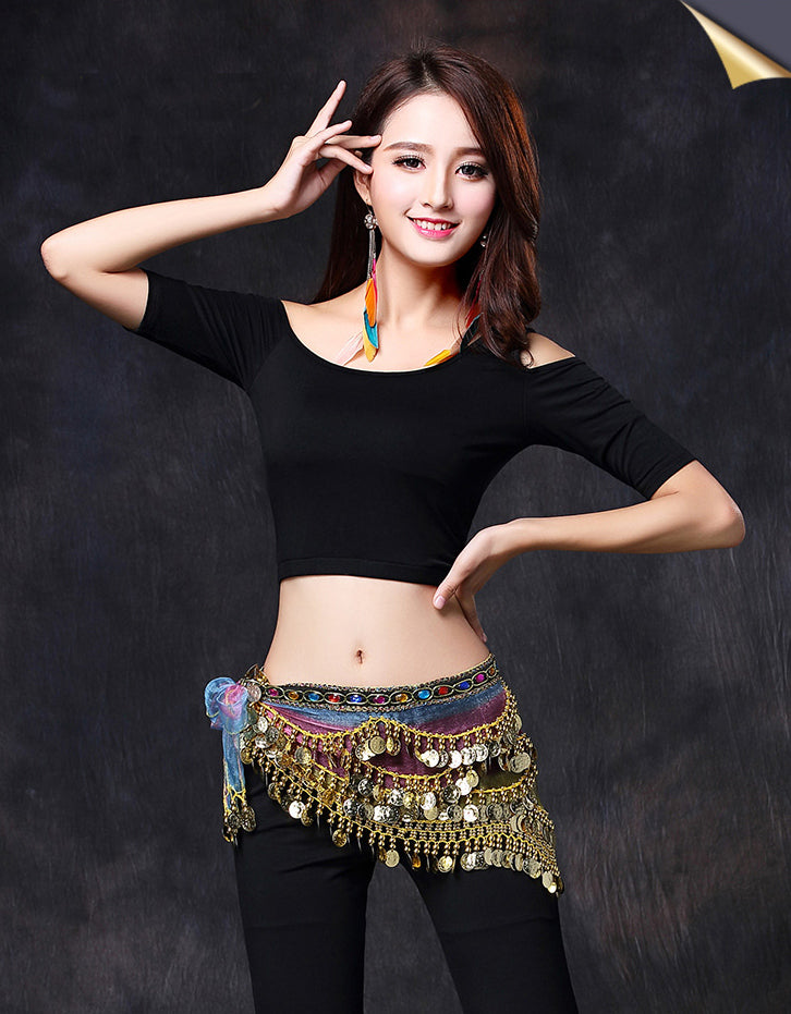 Women Belly Dance Colorful Tulle Gypsy Costume Fringe Tassel Hip Scarf with Coins Tribal Belly Dance Belt Hip High Outfit Waist wrap chain Belt