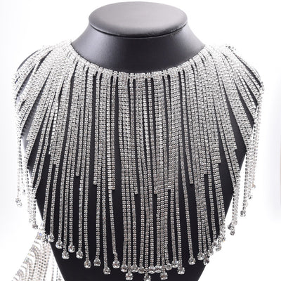 "6.2"" W Rhinestone Trim Rhinestone Chain overlength fringe,Clear Glass neckline applique Swarovski Silver long Tassels Metal Crystal Tassels"