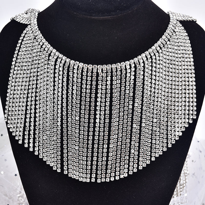 12cm Width Clear Glass Rhinestone Chain Fringe Sew On Trimming Metal Crystal Tassels Applique Strass Ribbon Banding DIY Craft neckline applique