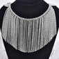 "4.8""W Luxurious Rhinestone Tassel trim Rhinestone Chain night out fringe Swarovski shine silver Crystal ornament diamante jeans dress trim"