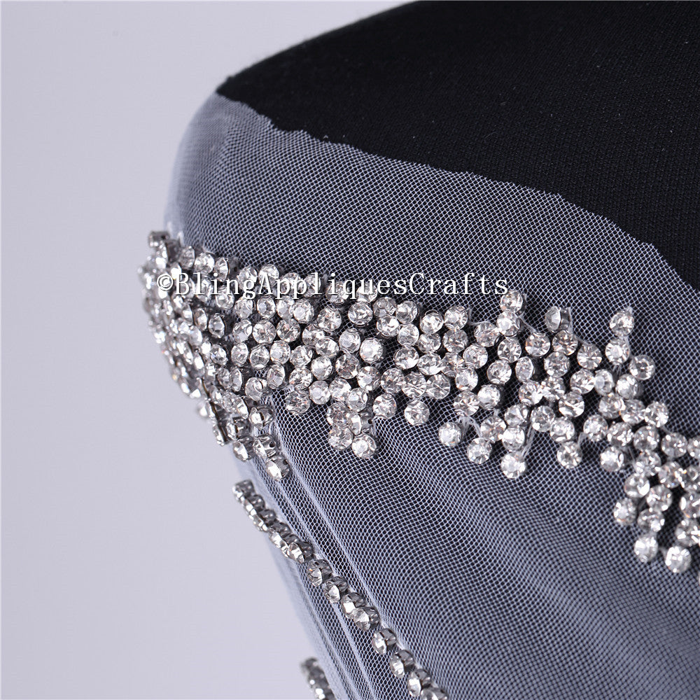 Luxurious Sparkle Silver Long beaded Wedding applique crystal bodice crystal applique patch panel fabric for wedding Prom gown dress