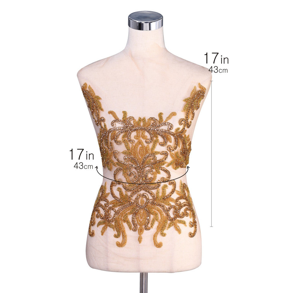 Gold Front and back Bodice Rhinestone Applique Heavy Beaded crystal Applique Panel Applique Prom Gown Rhinestone Shiny Diamante Lace patch
