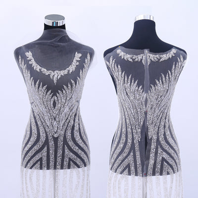 New Design Silver Bridal Unique Design Gown Dress Size Full Length Luxurious Body Hand-made Rhinestone Applique Bodice Patches