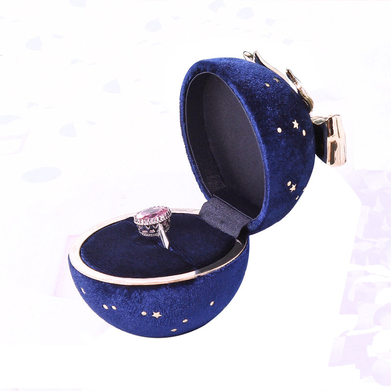 Royal Blue Velvet Necklace Ring Jewelry Box Round Bow Star Storage Case Valentine's Day Wedding Gift Jewelry Packaging Boxes kawayi Ring Bearer Box