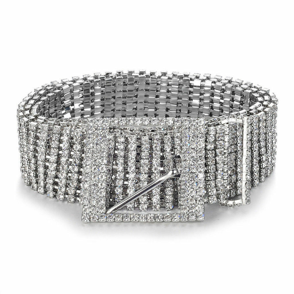 Hot Girl Silver Rhinestone Diamante Belt Bling Bling Belt Crystal Art Deco Belt Shiny Belt Chic Unique Night out belt Retro Temperament Sash