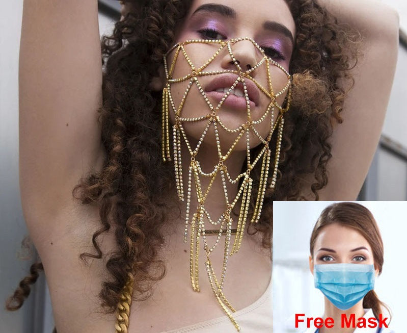 Gold rhinestone face chain mask silver rhinestone mask fashion face mask Masquerades jewelry for Nightclub Ballroom Party Belly Dancing