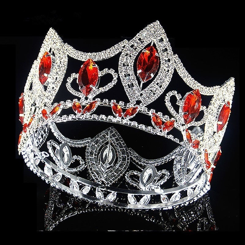 Vintage rhinestone Baroque Queen King Bride Tiara Crown Round Headdress Prom Bridal Wedding Tiaras Crowns Diamond Hair Jewelry Accessories