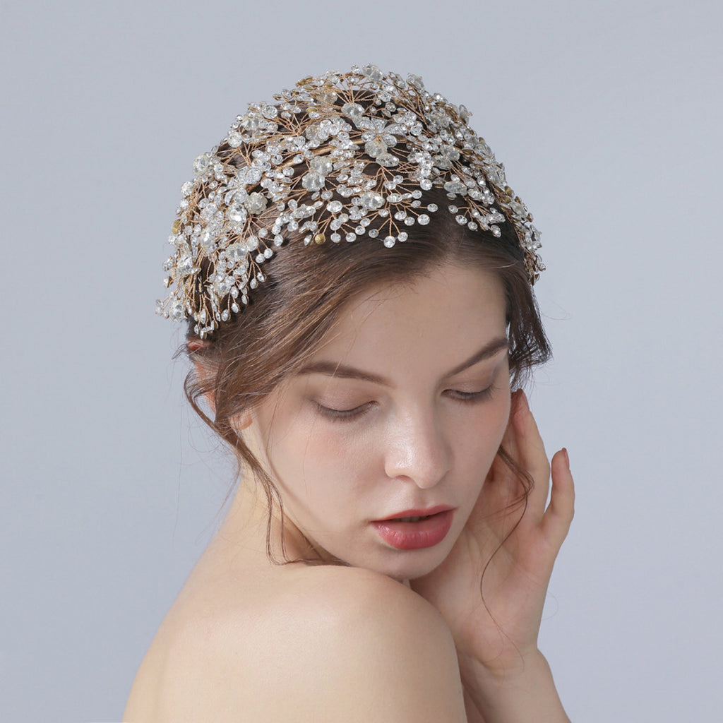 Bridal hair accessories crystals luxury large hairpiece wedding headpiece bridal tiara unique bridal headdress floral wedding headband trim
