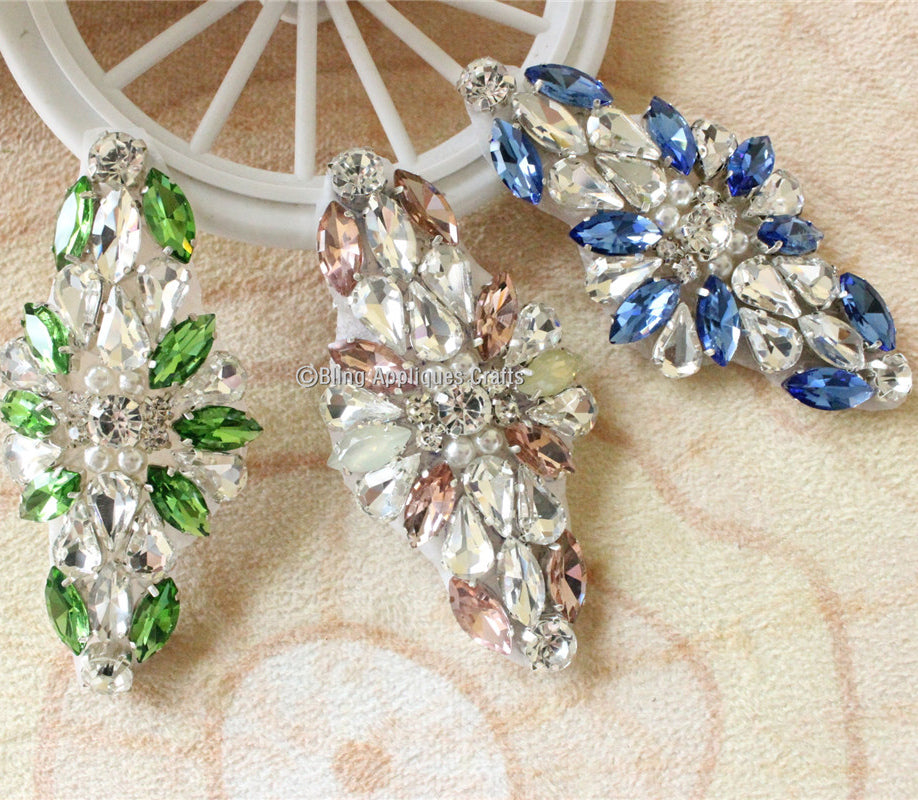One Pair Glass Green Sapphire Blue Rose Gold Rhinestone Applique Bridal Stone Crystal Handmade Flower Wedding Decoration Motif Patch Garter( 2 pieces)