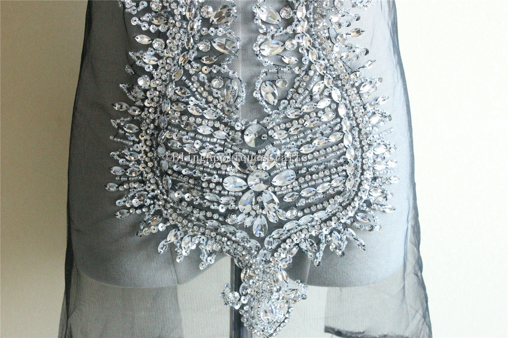 Sparkle Gold Silver Deluxe rhinestone bodice crystal applique heavy bead handmade crystal bodice applique haute couture prom wedding