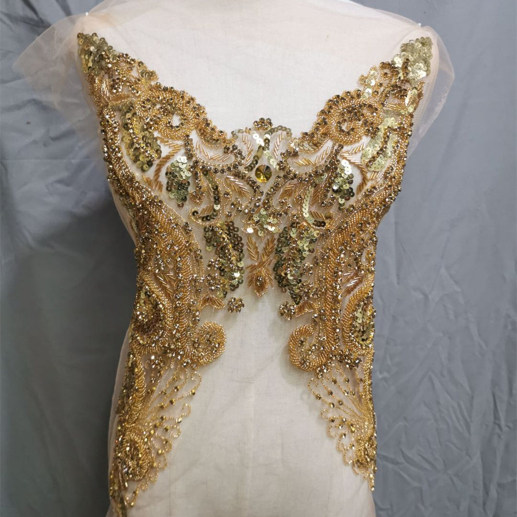Sparkling Gold Bodice Rhinestone Applique Heavy Beads Motif Diamante Lace Patch sewing on Bridal Wedding Ball Dress Gown