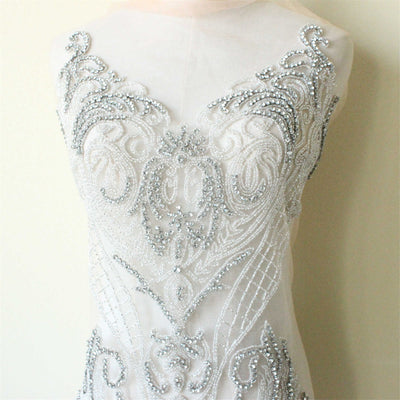 Silver Beaded bodice Lace Applique,Gorgeous Lace Fabric,Wedding Dress Applique,Bridal Dress,Beaded Lace Fabric Wedding Dress,Prom Dress