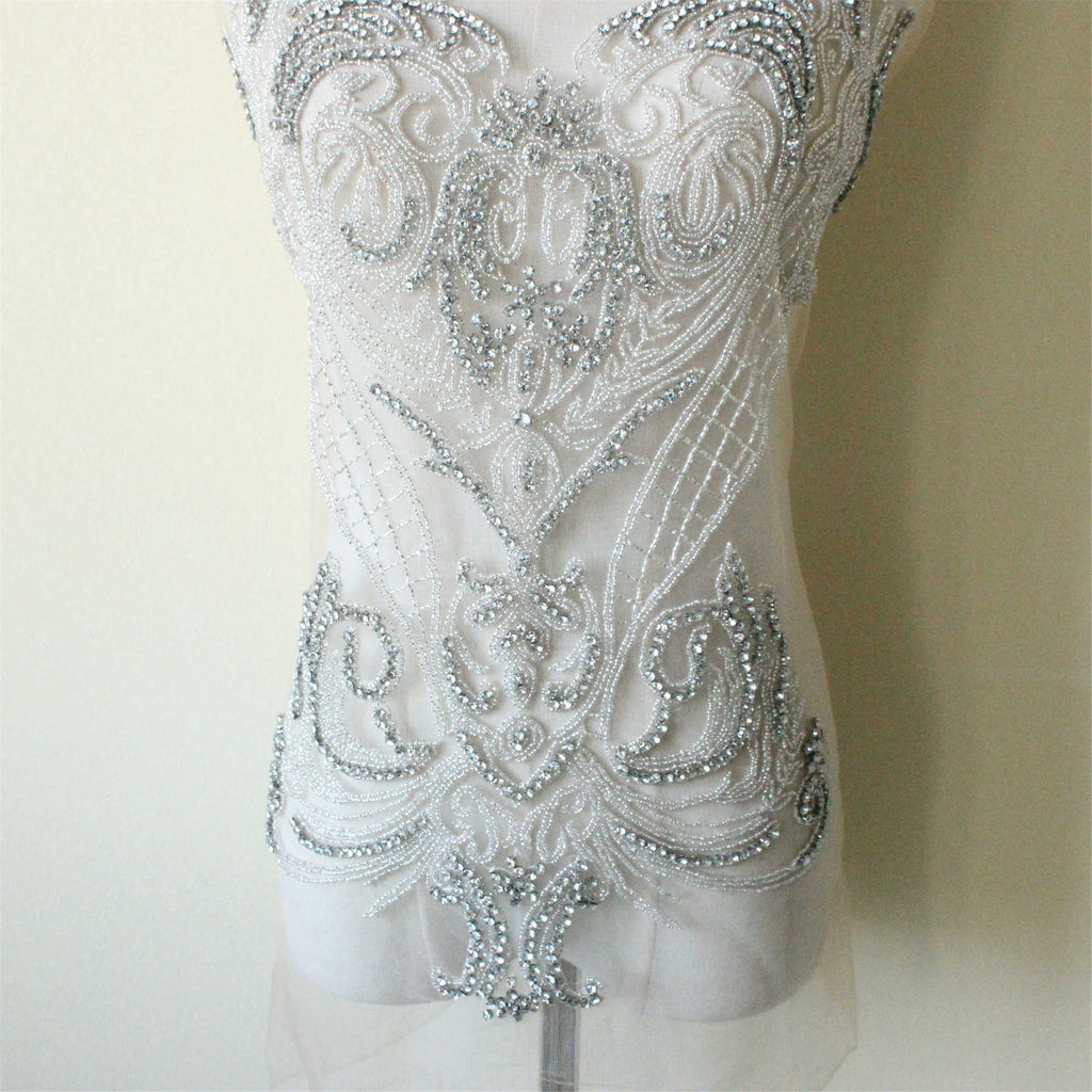 Bridal Bodice Lace Embroidery Tulle Lace Applique By The Piece Luxury Sequin Lace Applique Wedding Dress Patch