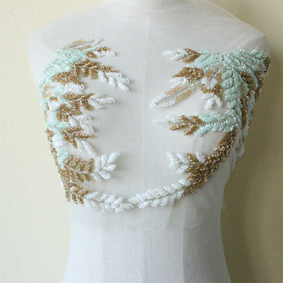 Light blue and gold beaded floral bodice Luxury Beaded Lace Bodice Applique Exquisite Applique For Wedding Dress Grown Bridal Veil Haute Couture Motif