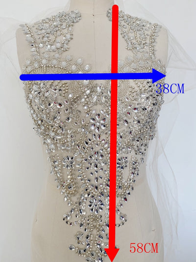 One Set Rhinestone Applique Dress Size Design Body Hand-made Rhinestone Applique Bodice Patches beaded applique sewn DIY bride wedding dress prom dress