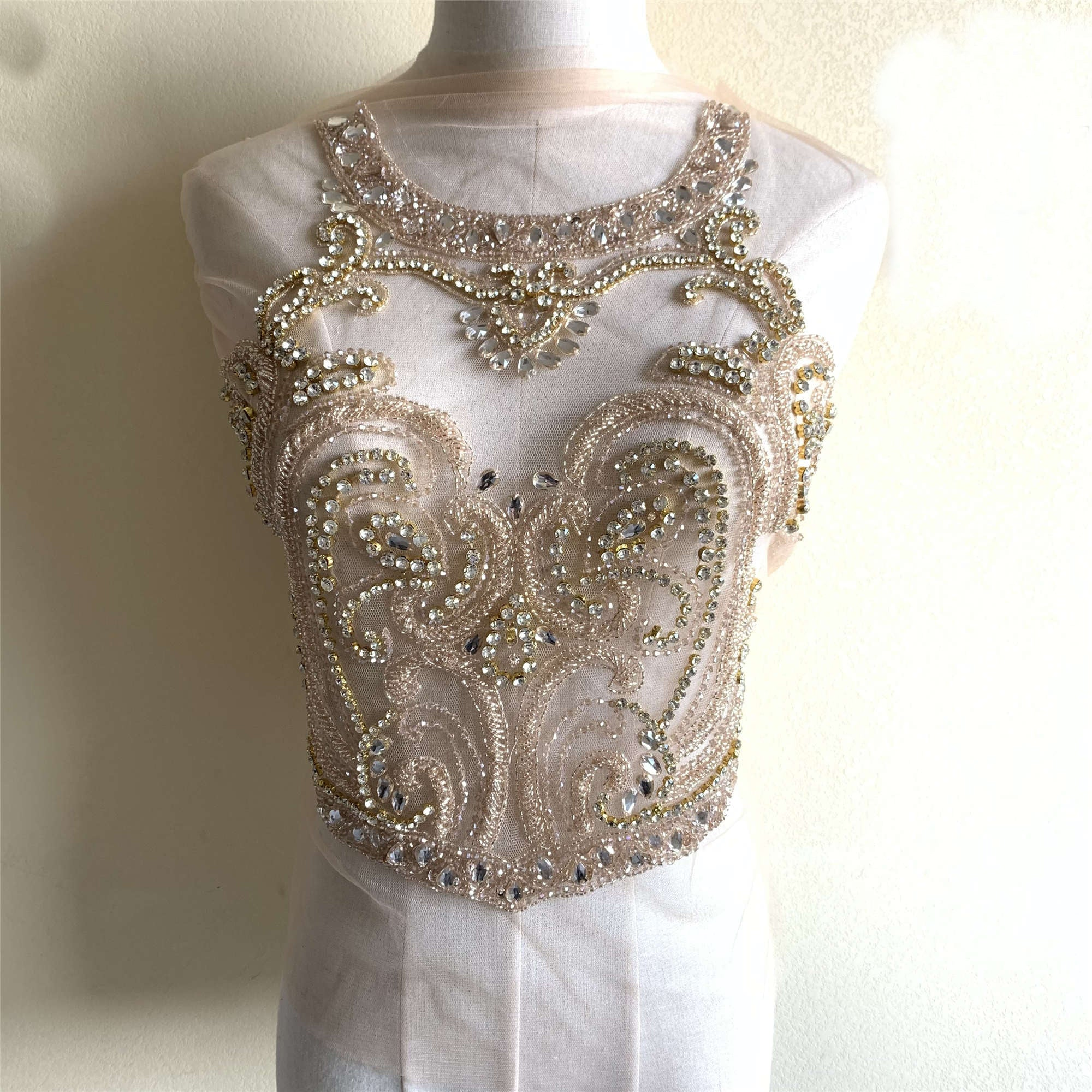 crystal applique crystal bodice applique for wedding dress haute couture supplies Deluxe Rhinestone bodice applique bridal supplies