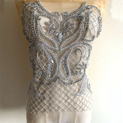 Luxury Handmade Crystal Beaded Bridal Bodice Rhinestone Applique Motif Diamante Lace Patch Wedding Dress Panels Ball Bridal Cape one set
