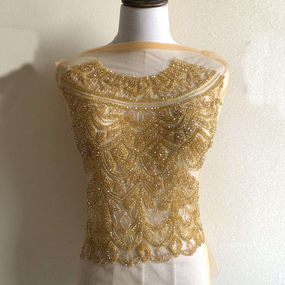 Gold crystal bodice applique heavy beaded Applique, Bridal Gown Rhinestone Applique, Sparkling Prom Dress Rhinestone Applique, Bodice panel Applique by one set