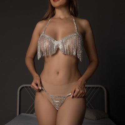 Sexy tassel rhinestone fringe bra panty body chain set, holiday jewelry, carnival Bling Bra Thong Thoughtful Gift Birthday Wedding Gift