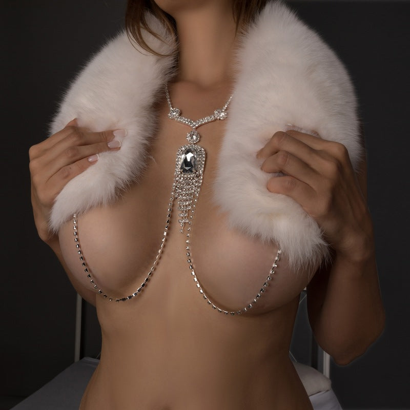 Sparkle Nipple Jewelry Necklace Body Jewellery Sexy Simple rhinestone fringe Charming Body Chain Women Statement Christmas Gifts