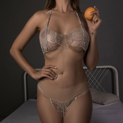 Sexy Body Chain Set Rhinestone Chain Bra and Panties Jewelry for Women Crystal Double Layer Bra Chain Tassel fringe Underwear