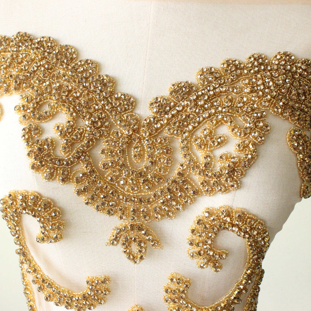 Gold Elegant large crystal bodice wedding dress applique trim Stone Patch Rhinestone beads for Wedding Dresses, Evening Dresses