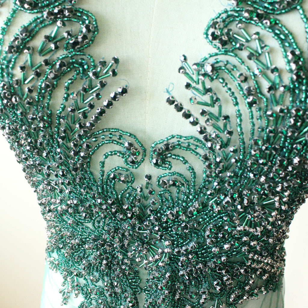 Handmade Green Black Beaded Bodice Appliques for Clothes Apparel Fashion Crystal Rhinestone Design Wedding Patch Dress Decoration fabric