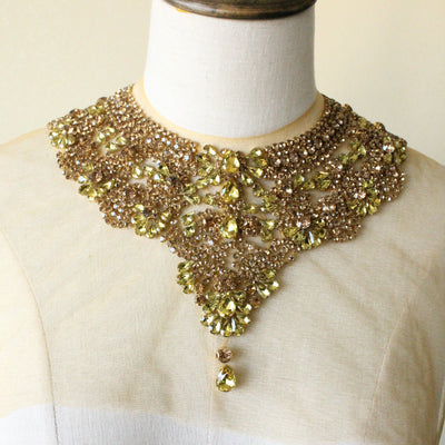 Gold V collar belt rhinestone applique front bodice beading lace applique neckline, handmade necklace for bridal wedding gown haute couture