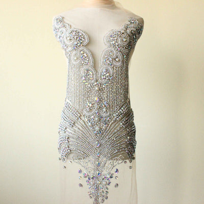 Silver AB rhinestone appliques,  bodice applique, lace bolero beaded wedding dress accessories handmade craft haute couture