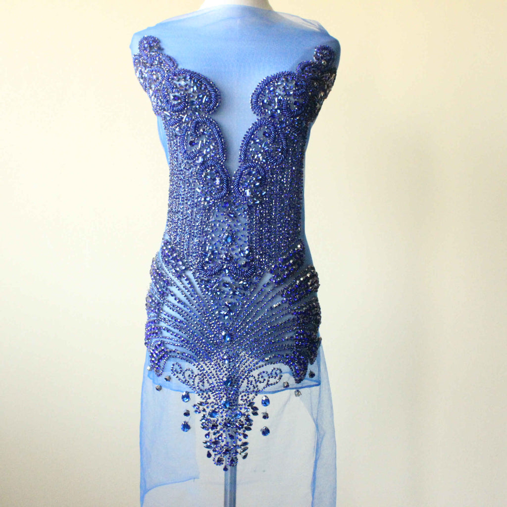 Swarovski Shine Royal blue Rhinestone Applique Bridal Bodice beaded floral motif Lace fabric for Dancing Costume evening dress
