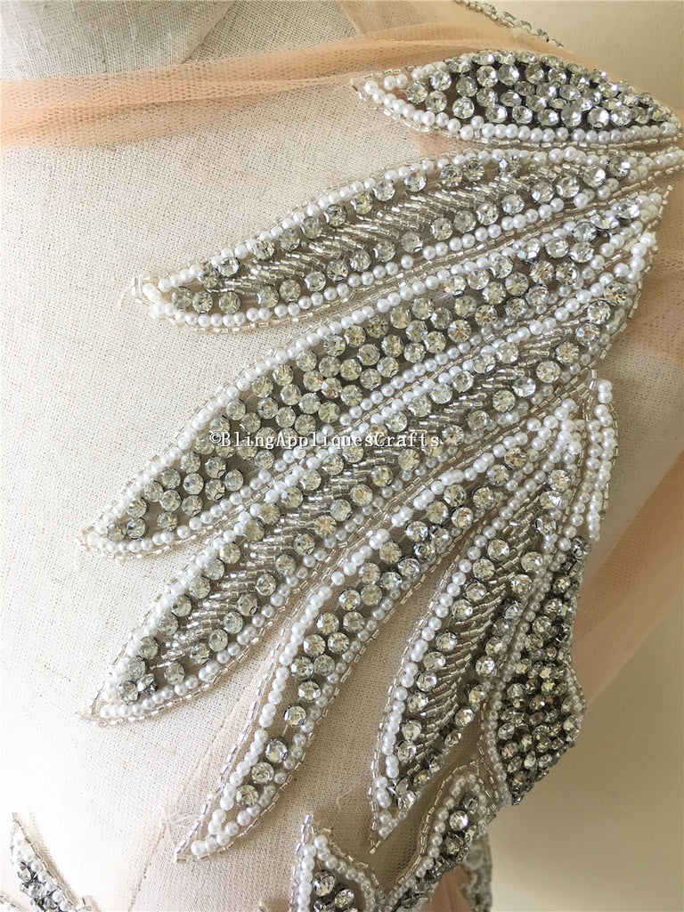 Deluxe Designer Full Bodice Rhinestone Applique Body patches sequin sewing crystal applique beads for wedding evening dress patch ( Front piece+ Back piece)