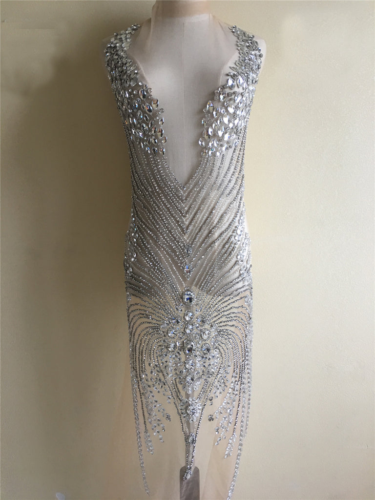 Gorgeous Designer Full Length Bodice Rhinestone Applique Beaded Nude Gowns Haute Couture Wedding Dress Swarovski Shine Gold / Silver panels