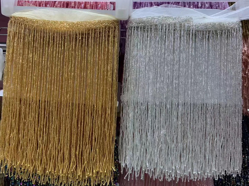 26.0cm W Dangling Gold Silver heavy beaded fringe tassel trim seed beads fringe for dance costume beaded haute couture dress trimming beading fringe by pack