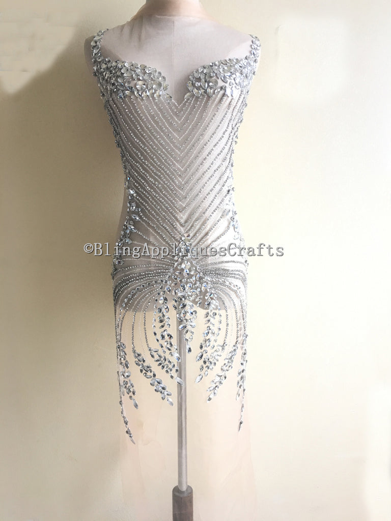 Luxury Sparkle Rhinestone Bodice Applique Full Body Bodice Motif Sew On Glass Crystal Beaded Applique for Wedding Gown Dress Decoration