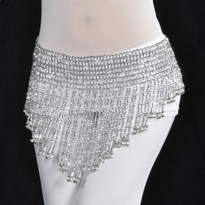 Belly Dancing Triangular flexible Waist Chain Hip Diamante Beads Tassel Elastic Fringe Bells Scarf Dance Belt Dance Wear Silver Golden