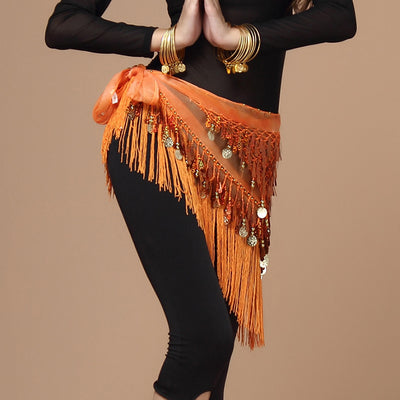 Hand Made chiffon Hip Scarf Belly Dance Samba Long Tassel Dance Accessories Sequin Coins Belt Latin Dance Skirt Bellydancing Hip Scarf Waist