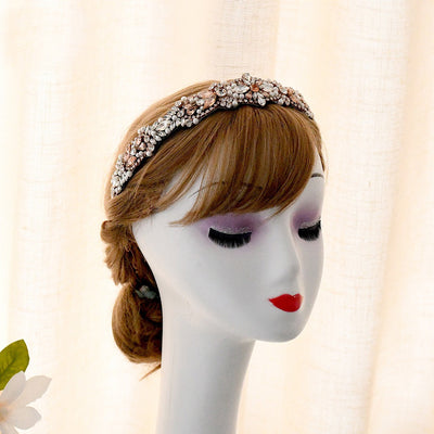 Rhinstone headband rose gold pearls headband,wedding headband,flowergirl headband,halo,dressy headband,fancy flower girl,formal headband