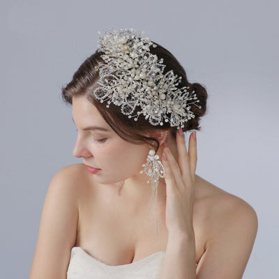 Wedding headpiece CRYSTAL DREAM Bridal side hair piece Diamond accessory Swarovski shine crystal vine Big rhinestone brooch hair jewelry