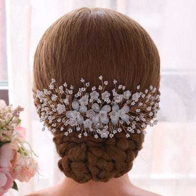 rhinestone bridal hair piece Diamond wedding back headpiece Bling hair accessory Swarovski shine floral headband Crystal brooch Vine comb