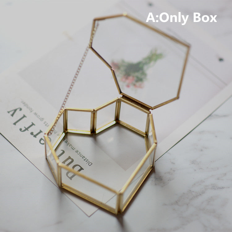 Preserved flower Wedding Engagement Heart Ring Box Hexagon Glass Ring Box Ring Pillow Bridesmaid Gift Box Glass Jewelry Box,Valentine's Gift