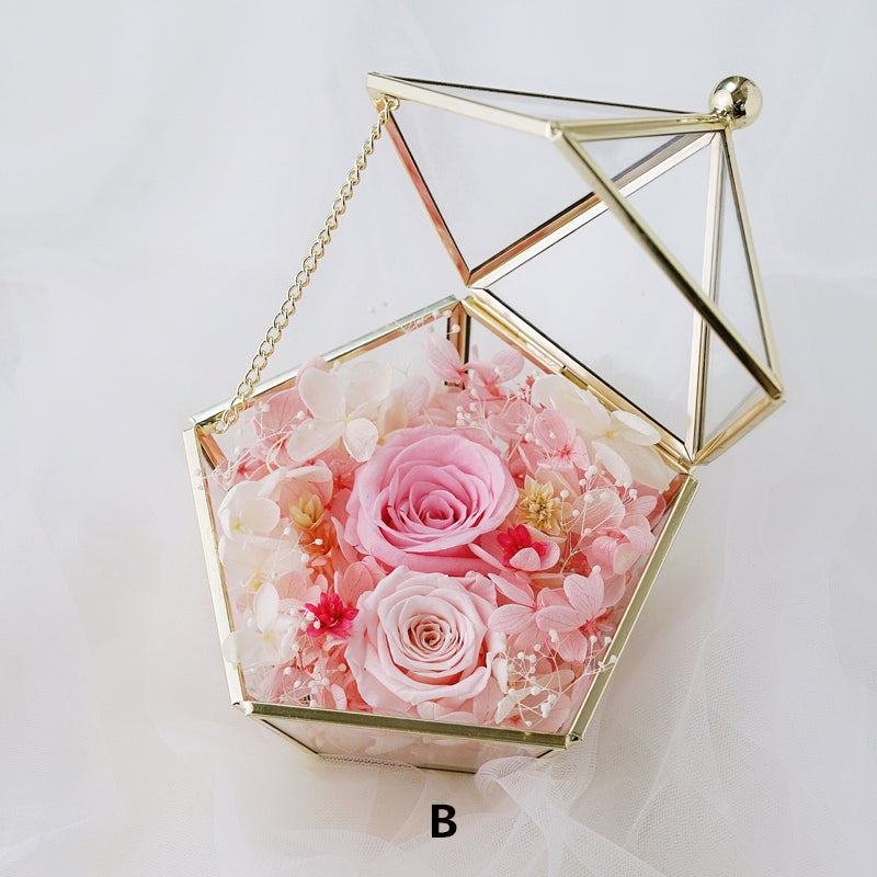 Preserved flower rose ring box gold Pentagon Geometric Wedding Ring Box Glass Ring Box Copper Jewelry Bearer Pillows Wedding Ring Holder Box