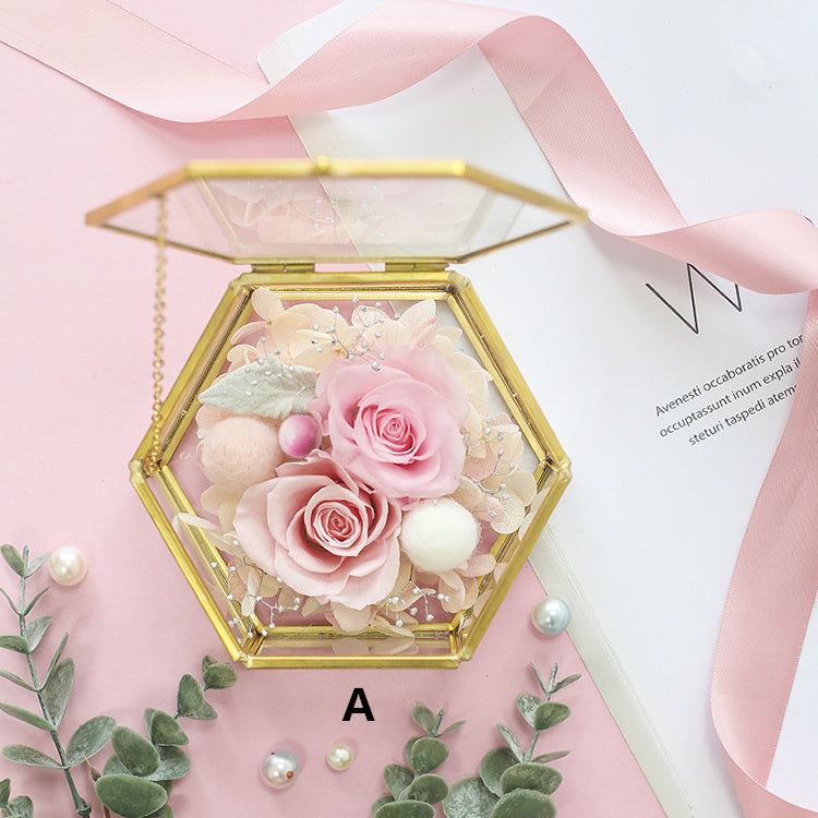 Wedding ring box Engagement ring box ring pillow ring box Hexagonal Wedding ring Glass Jewelry Box, Glass ring holder with Preserved Flower